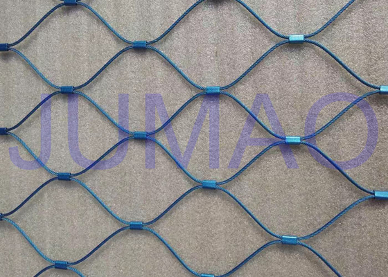 Blue Flexible Stainless Steel Cable Net , Soft Stainless Steel Rope Mesh