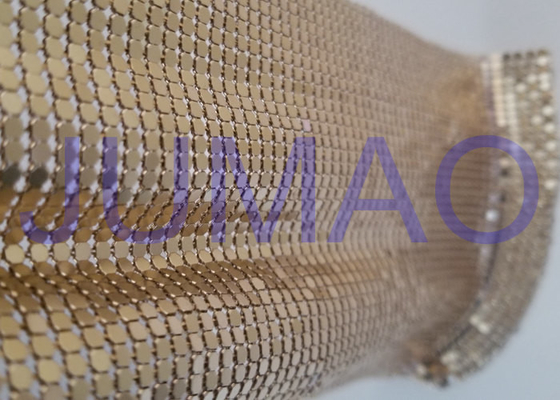3 Mm Dark Gold Metal Flake Fabric Shrink Proof Interior Decoration Table Cloth
