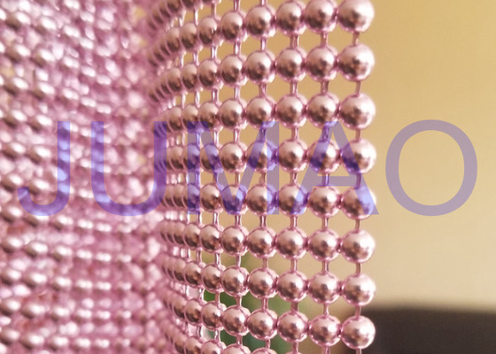 Pink Steel Ball Curtain , Architectural Decorative Ball Chain Beaded Curtain