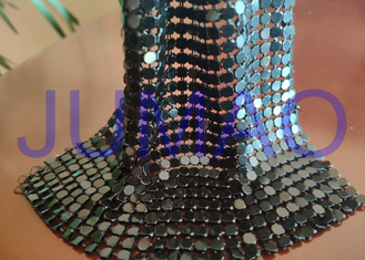 Black Slices Metal Sequin Fabric , 4 Mm * 4 Mm Common Areas Metal Flake Fabric