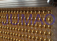 Gold Plated Steel Ball Chain Curtain 10 mm Real Space Divider For Hotel
