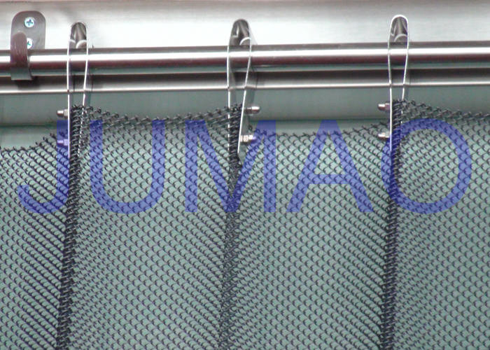 Fireproof Silver Metal Mesh Curtains Coil Drapery For Exhibition Blinds